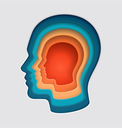 man head mind thinking symbol paper cut vector image