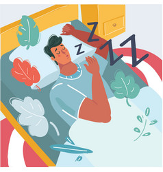 man sleeping in his bed vector image