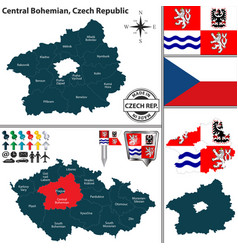 Map of central bohemian czech republic vector