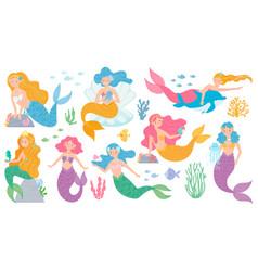 mermaid cute mythical princess little mermaids vector image