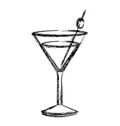 Monochrome sketch silhouette of drink cocktail vector