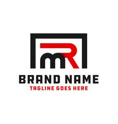 monogram logo with letter mr vector image