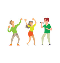 music singer and people dancing in club isolated vector image