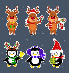 new year and christmas card a set stickers of vector image