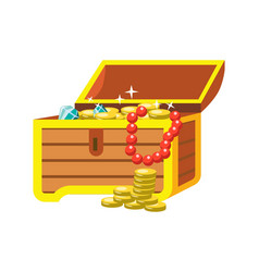 open chest with shining pirate treasures on white vector image