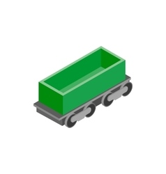 Open rail car isometric icon vector