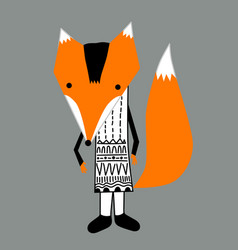 orange fox in black and white graphic dress hand vector image