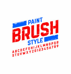 paint brush style modern font alphabet and numbers vector image