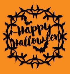 paper cut silhouette happy halloween wreath vector image