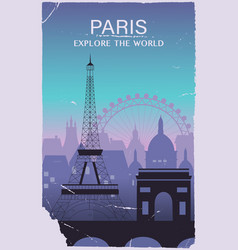 paris city travel background in old style vector image