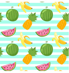 pattern with pineapple watermelon vector image