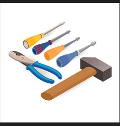 pliers hammer screwdrivers isometric vector image