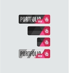 Portfolio button futuristic hi-tech UI design vector image