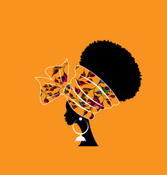 Portrait beauty african woman traditional turban vector
