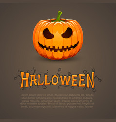 pumpkin for halloween with text vector image