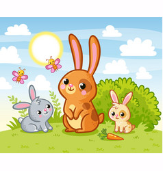 Rabbits are sitting in a green meadow hares eat vector