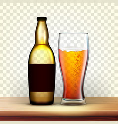 Realistic bottle and glass with cold beer vector