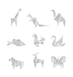 realistic detailed 3d origami paper animals set vector image