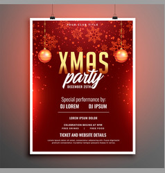 red merry christmas party celebration flyer vector image