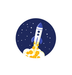 rocket launch with money startup financing vector image