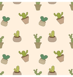 Seamless pattern of cactus pot vector image