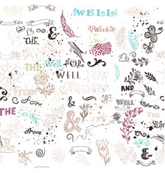 Seamless wallpaper pattern hand sketched doodles vector