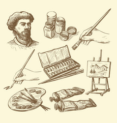set hand drawn artists stuff vector image