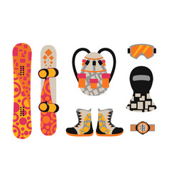 snowboard sport clothes and tools elements vector image