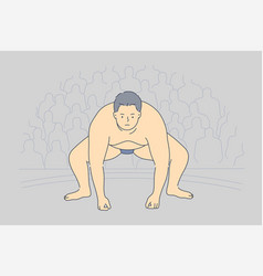 sport competition obesity japan preparation vector image