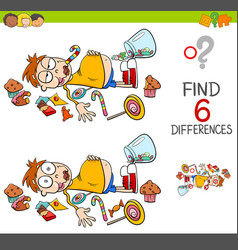 Spot differences with boy and sweets vector
