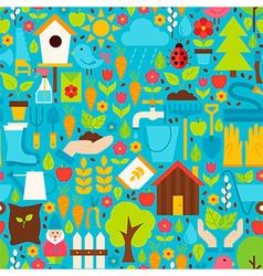 Spring Garden Flat Design Blue Seamless Pattern vector