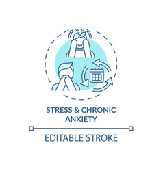 Stress and chronic anxiety blue concept icon vector