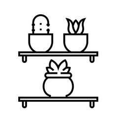 succulent shelf line icon concept sign outline vector image