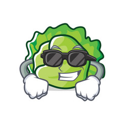 super cool lettuce character cartoon style vector image