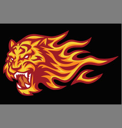 Tiger roaring head fire burning flame logo vector