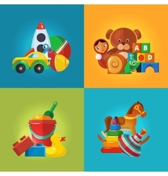 Toys icons for kids vector