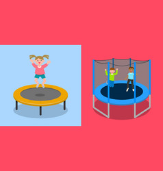Trampoline jumping banner set flat style vector