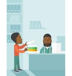 Two black office clerk inside the office vector