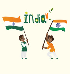 two boys kids teenagers holding indian flags vector image