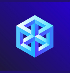 unreal optical cube isometric drawing vector image