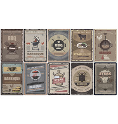 Vintage colored barbecue brochures collection vector