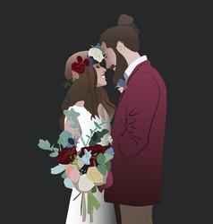 Wedding bride groom bouquet engagement vector
