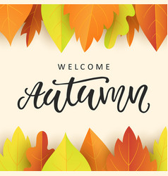 welcome autumn banner template with fall leaves vector image