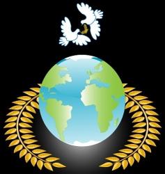 white dove on globe vector image