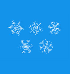 white snowflakes on blue background - set vector image