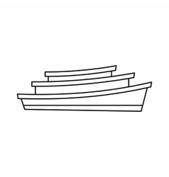 Wooden boat icon outline style vector