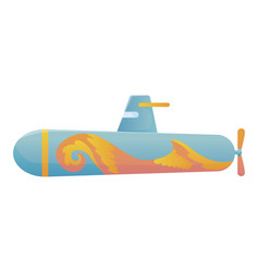 yellow and blue submarine undersea cartoon style vector image