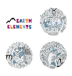 zodiac earth elements set vector image
