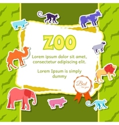 Zoo animals elements on green background poster in vector
