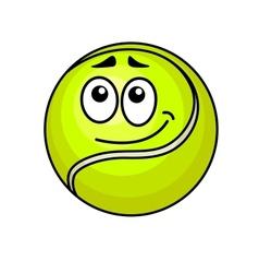 Cartoon tennis ball with a wry smile vector